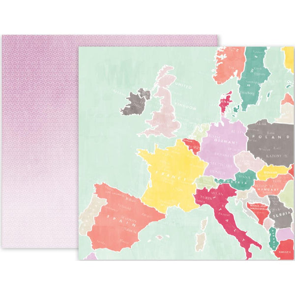 Pink Paislee - Take Me Away - 12x12 Patterned Paper - #15