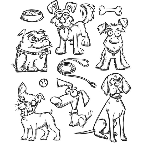 Tim Holtz - Cling Rubber Stamp Set - Crazy Dogs