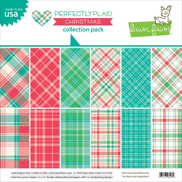 lawn Fawn - 12x12 Double Sided Collection Pack - Perfectly Plaid Christmas