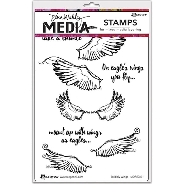 Ranger - Dina Wakley - Cling Stamp - Scribbly Wings