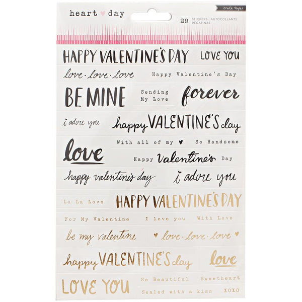 Crate Paper - Heart Day - Phrase Stickers w/ gold foil