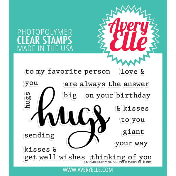 Avery Elle - Clear Stamp - Simply Said Hugs