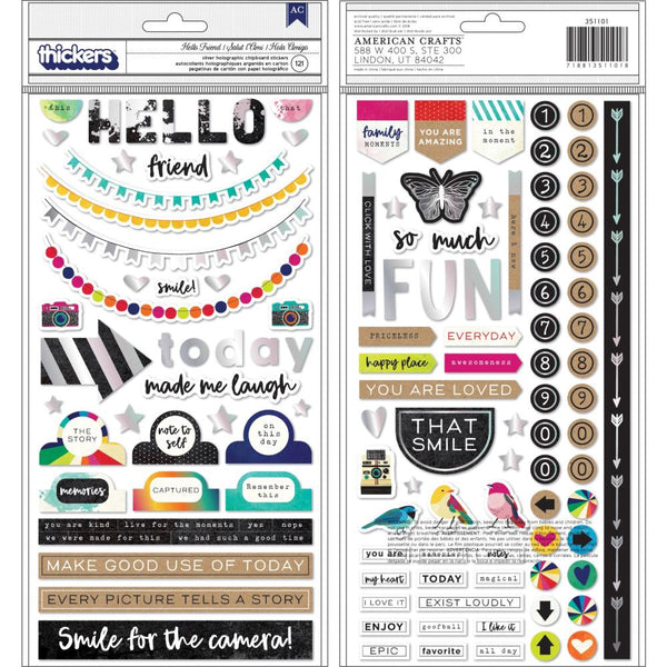 Vicki Boutin - Colour Kaleidoscope - Hello Friend Chipboard Stickers