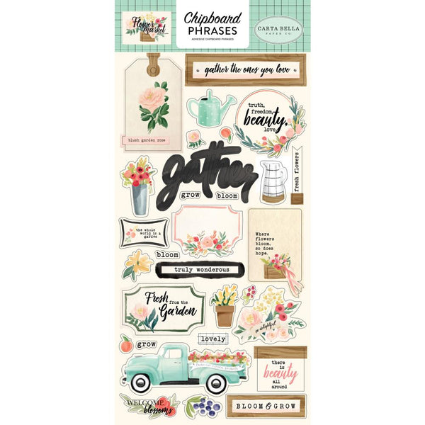Carta Bella - Flower Market - Chipboard Phrases
