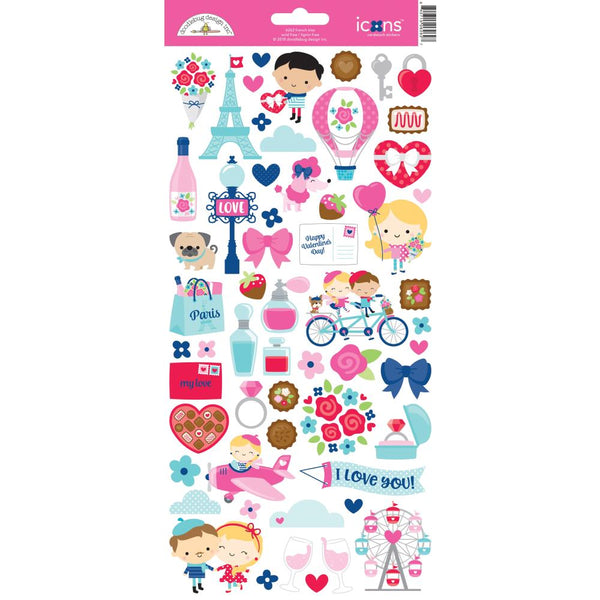 Doodlebug Design - French Kiss - Icons Cardstock Stickers