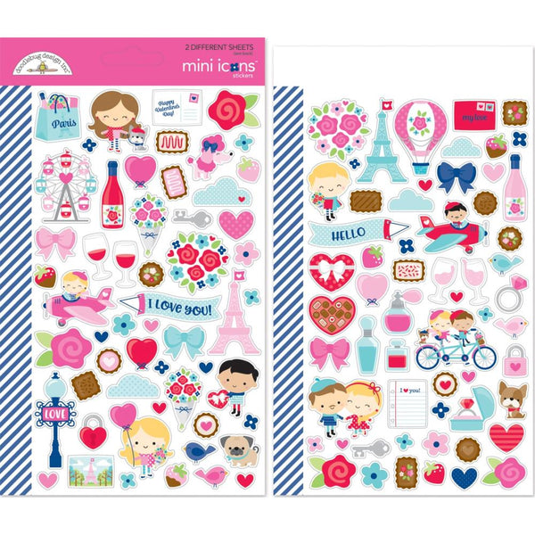 Doodlebug Design - French Kiss - Mini Icon Stickers