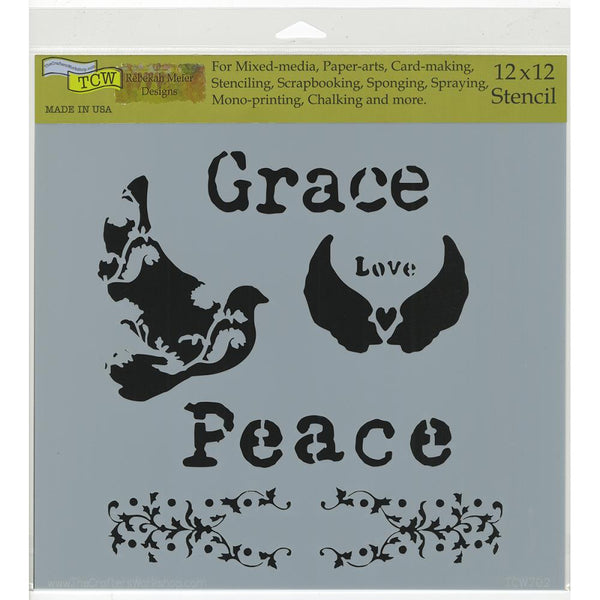 12x12 Crafter's Workshop - Peace Doves stencil