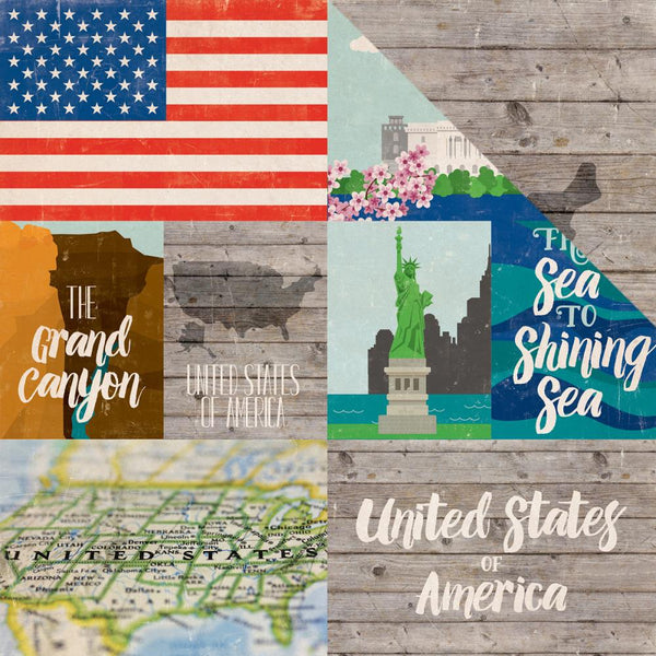 Echo Park - Around the World - United States of America pattern paper