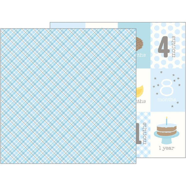 Pebbles - Lullaby - Baby Boy Plaid pattern paper