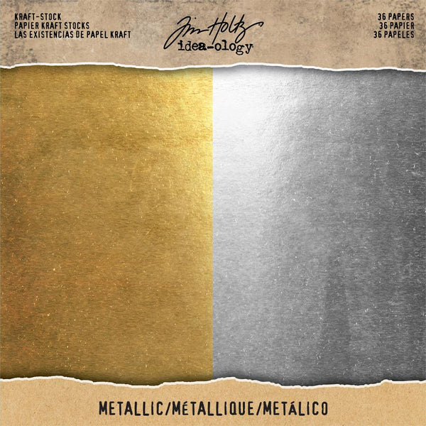 Tim Holtz - Kraft Stock - Gold & Sliver 8x8 paper pad
