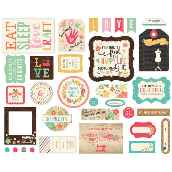 Echo Park - I'd Rather Be Crafting - Ephemera pack