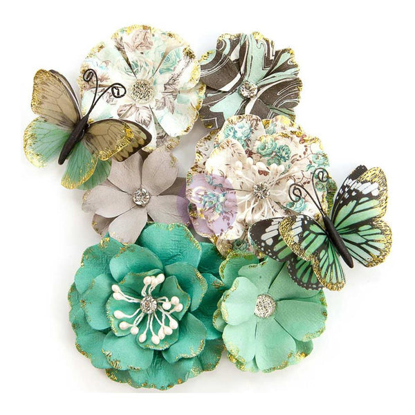 Prima Marketing - Zella Teal - Butterfly Kisses Flowers
