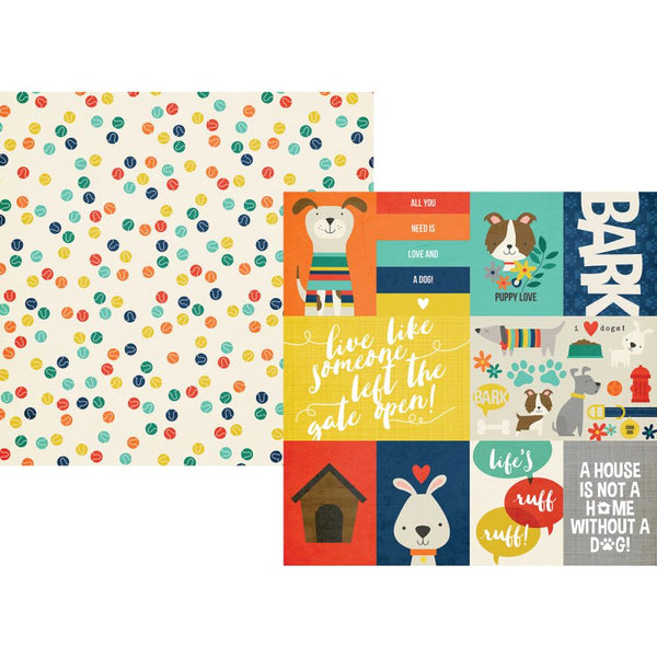 Simple Stories - Life is Ruff - 12x12 Pattern Paper - Journaling Cards