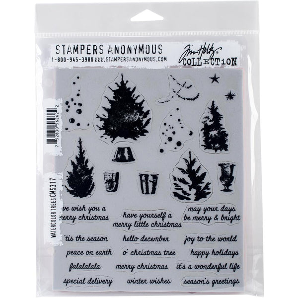Stampers Anonymous - Tim Holtz -  Watercolour Trees cling stamp