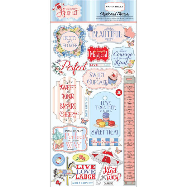 Carta Bella - Practically Perfect - Chipboard Phrases stickers