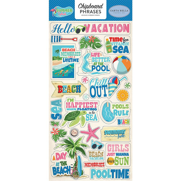 Carta Bella - Summer Splash - Chipboard Phrases