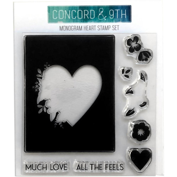 Concord & 9th - Monogram Heart stamp set