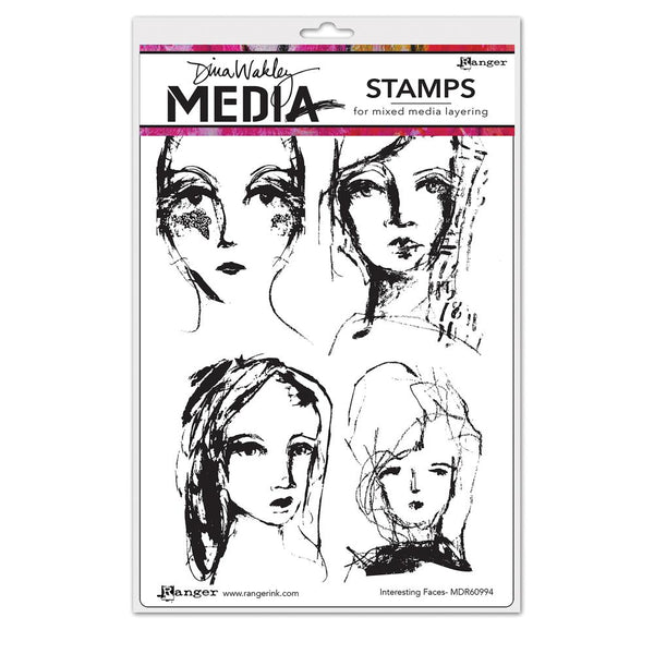 Dina Wakley Media - Interesting Faces cling stamp