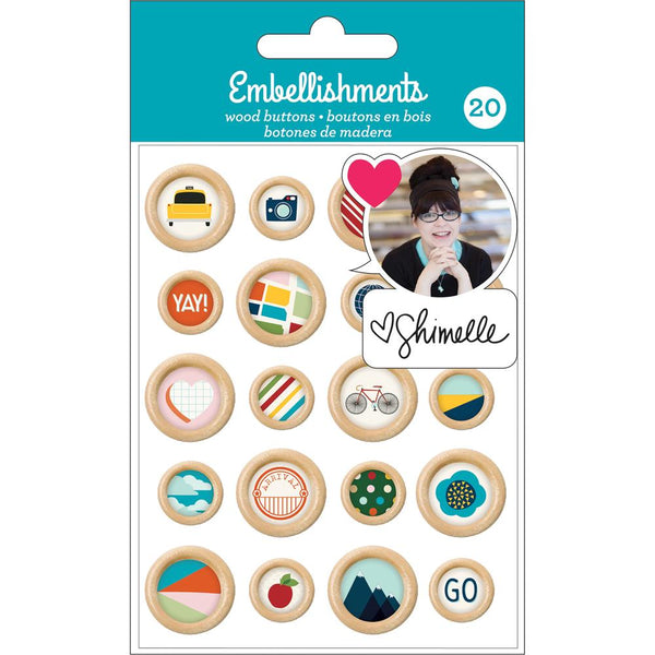 Shimelle - Self-Adhesive Wood Buttons
