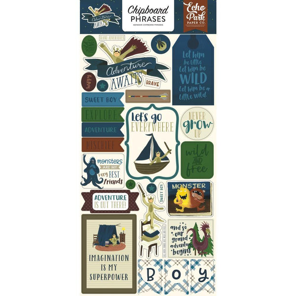 Echo Park - Adventure Awaits - Chipboard Phrase Stickers