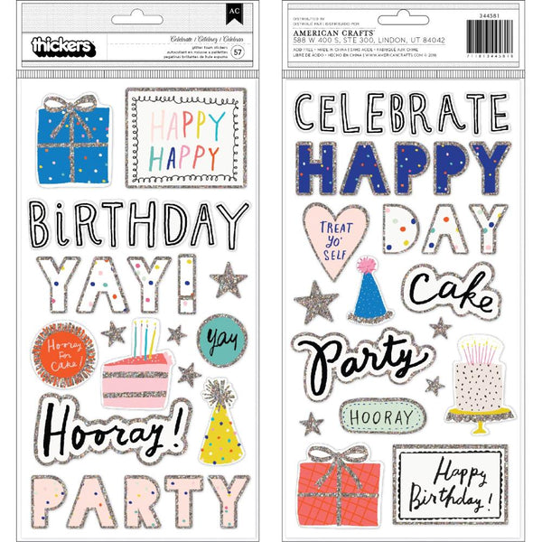 Crate Paper - Hooray - Celebrate Glitter Foam Thickers