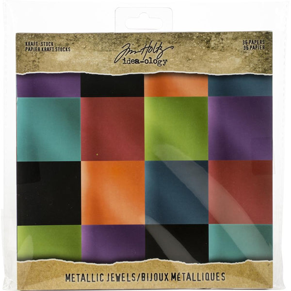 Tim Holtz - Kraft Stock - Metallic Jewels 8x8 paper pad