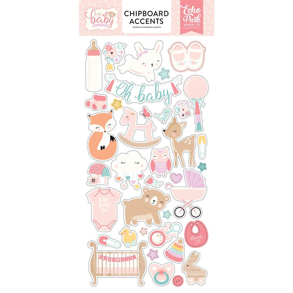 Echo Park - Hello Baby Girl - Chipboard Accents