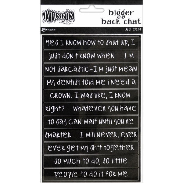 Dylusions - Black - Bigger Back Chat Stickers