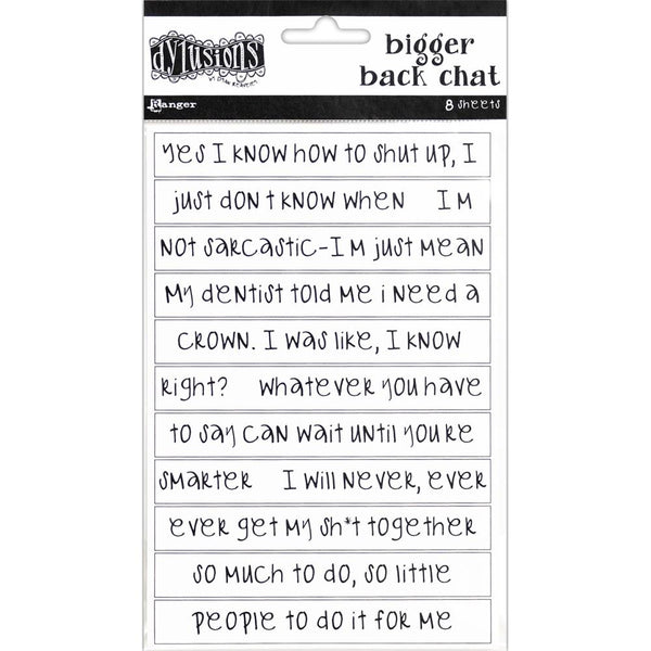 Dylusions - White - Bigger Back Chat Stickers