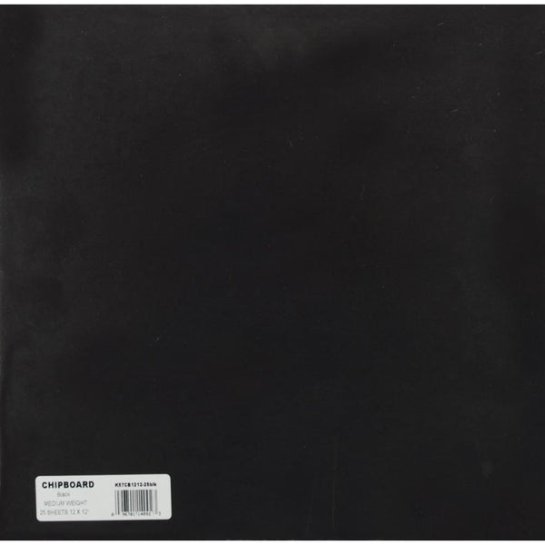 Grafix - Medium Weight - 25 pack Black Chipboard Sheets