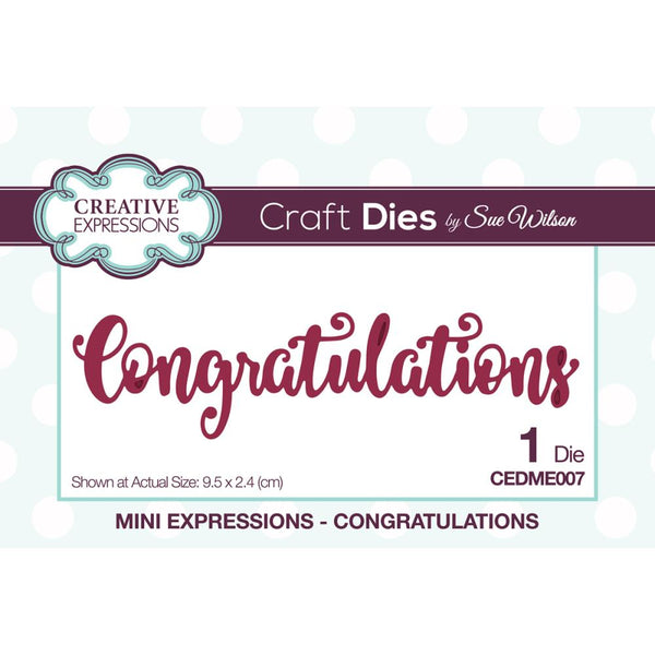 Creative Expressions - Craft Dies By Sue Wilson - Mini Expressions Congratulations die