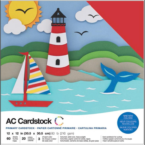 American Crafts - Primaries Cardstock Pack - 60 sheets