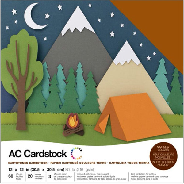 American Crafts - Earthtones Cardstock Pack - 60 sheets