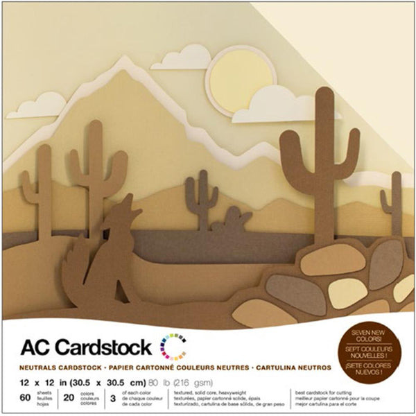 American Crafts - Neutrals Cardstock Pack - 60 sheets
