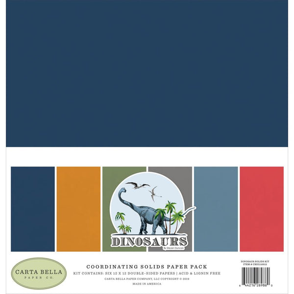 Carta Bella - Dinosaurs - Solids Paper Pack