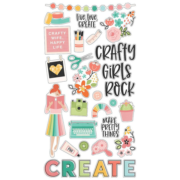 Simple Stories - Hey Crafty Girl - Chipboard Stickers