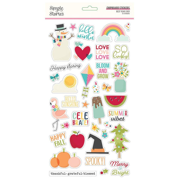 Simple Stories - Best Year Ever - Chipboard Stickers