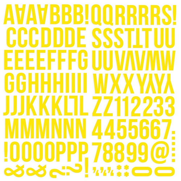 Simple Stories - Colour Vibe Foam Alpha Stickers - Yellow
