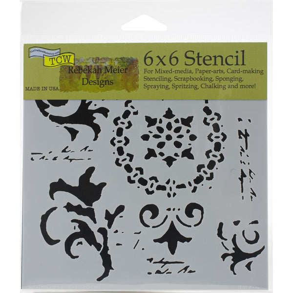 6x6 - Crafters Workshop - Vintage Scrolls stencil