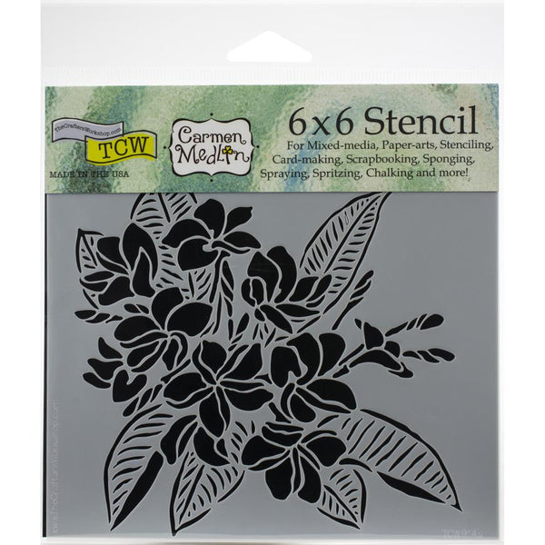 6x6 - Crafters Workshop - Plumeria stencil