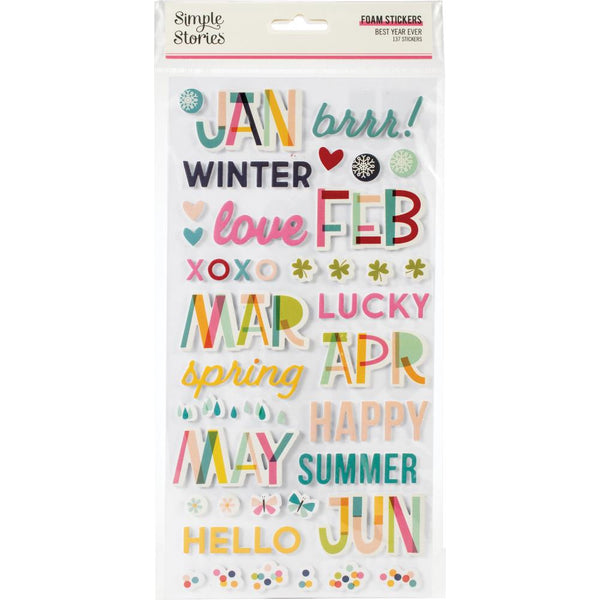 Simple Stories - Best Year Ever - Foam Stickers
