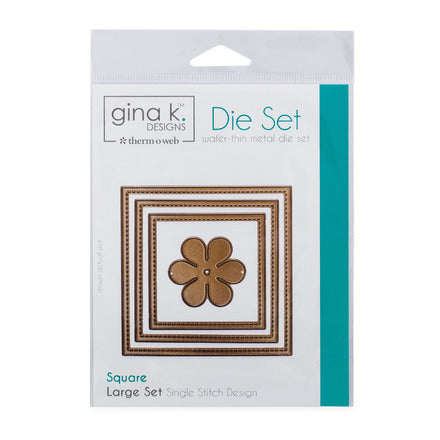 Therm-O-Web - Gina K. Designs - (3) Nested Square Dies - Single Stitch Design - Large Set