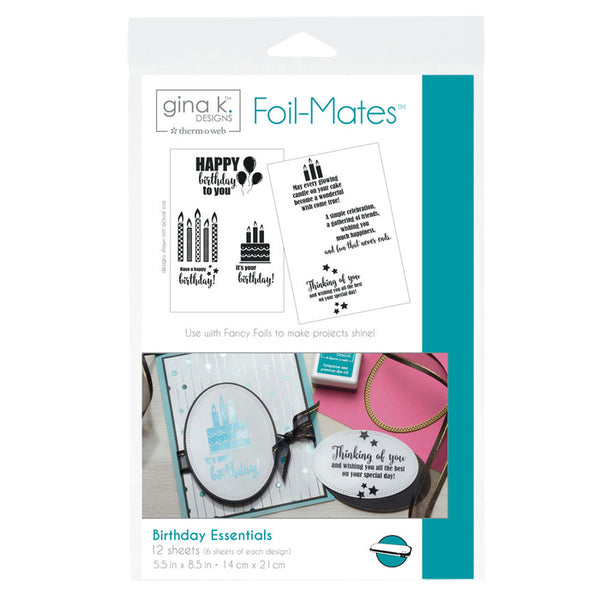 Therm-O-Web - Gina K. Designs -  Foil-Mates  Sentiments - Birthday Essentials
