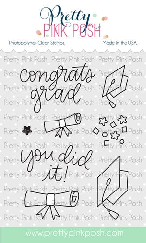Pretty Pink Posh - Congrats Grad Stamp Set