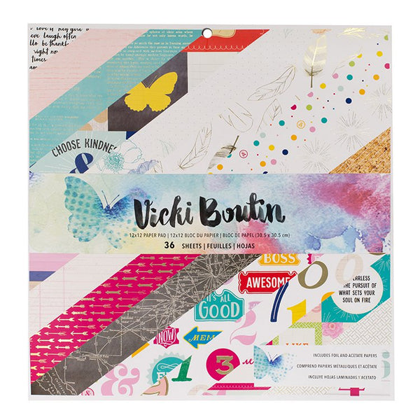 Vicki Boutin - Mixed Media - 12 x 12 Paper Pad w/Foil Accents
