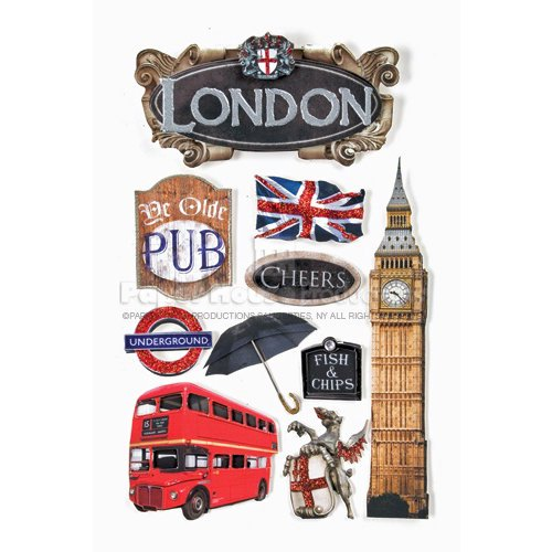 Paper House -  3 Dimensional Cardstock Stickers with Bling Foil and Glitter Accents - London