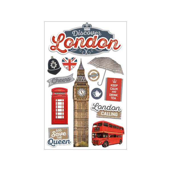Paper House -  3 Dimensional Cardstock Stickers with Bling Foil and Glitter Accents - Discover London