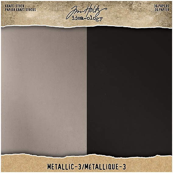 Tim Holtz - Kraft Stock - Metallic 3 8x8 paper pad