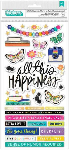 Vicki Boutin - Colour Study - All This Happiness Chipboard Phrase Thickers