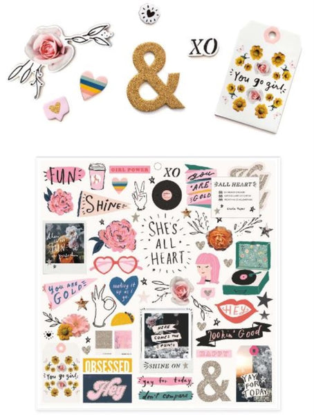 Crate Paper - All Heart - 12X12 Chipboard Stickers